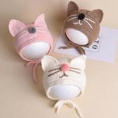 6-12個月嬰兒毛線帽1歲2可愛針織繫帶兒童男女寶寶護耳帽子秋冬季  潮流小鋪