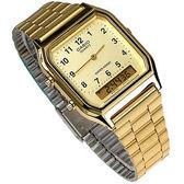 AQ-230GA-9B 卡西歐 CASIO 雙顯錶 復刻金電鍍 方型 金面 數字時刻 不銹鋼 29mm 男錶