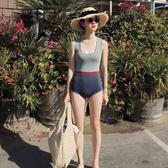 連體泳衣-新款復古洋氣拼色性感遮肚連體女保守溫泉小香風運動 花間公主