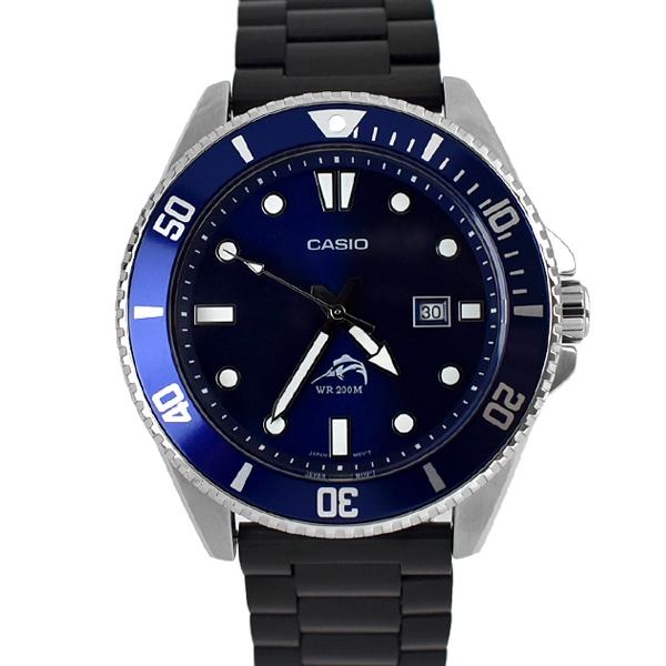 CASIO槍魚 成熟藍面鋼製黑錶帶NECE57