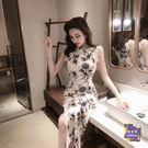 旗袍 2019夏新款時尚氣質復古修身顯瘦改良式版長款蕾絲旗袍洋裝少女 S-XL