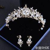 頭飾 新娘皇冠 結婚 綁手工水晶皇冠耳環套裝 水鉆皇冠