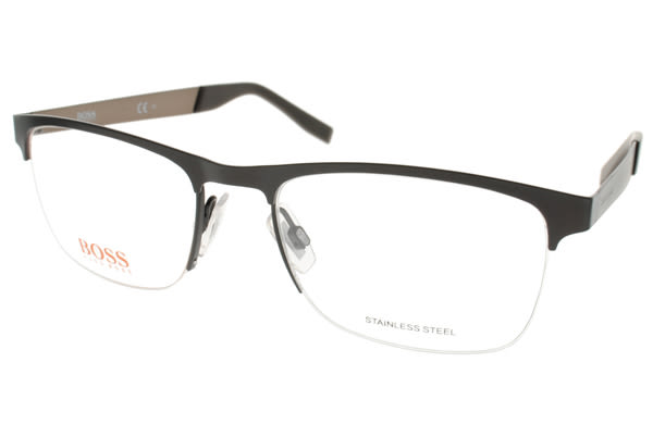 BOSS ORANGE 光學眼鏡 BR0227 LFS (黑-槍銀) 都會百搭流行款 # 金橘眼鏡