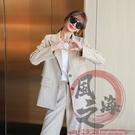 小西服套裝 西裝兩件套S-XL秋季女套裝加厚西裝外套女韓版嘻哈寬松西服西裝兩件套裝【風之海】
