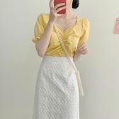 Pr 白色蕾絲半身裙女夏一步裙新款高腰顯瘦中長款包臀a字半身長裙子
