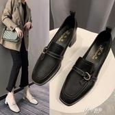 粗跟單鞋女2020春季新款韓版百搭方頭中跟英倫風皮鞋黑色上班 伊芙莎