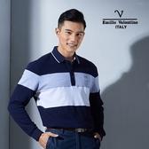 Emilio Valentino范倫鐵諾美式經典條紋純棉POLO衫 (藍/灰/白)