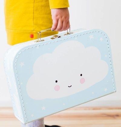 【荷蘭 A little lovely company】 療癒手提收納箱-天空藍微笑雲朵 #SCCLBU03