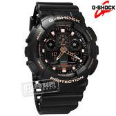 G-SHOCK CASIO / GA-100GBX-1A4 / 卡西歐 街頭酷炫 雙顯 防水200米 游泳 橡膠手錶 玫瑰金x黑 51mm
