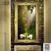 油畫掛畫 歐式山水風景油畫玄關裝飾畫客廳壁畫走廊過道墻面掛畫豎版天鵝湖 igo小宅女
