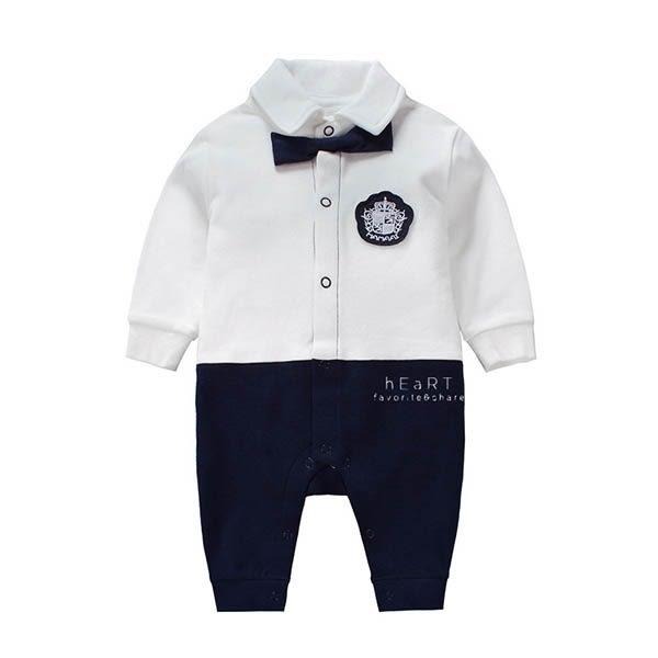 學院風紳士長袖包屁衣 嬰兒服 寶寶服 童裝 連身衣 兔裝