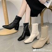 春秋新款方頭單靴后拉錬粗跟彈力瘦瘦靴女英倫風百搭中跟短靴