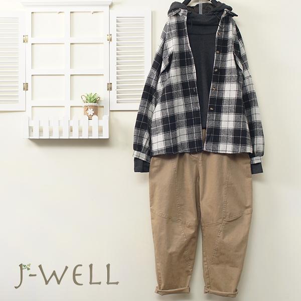 J-WELL 格紋襯衫帽T剪接褲三件組(組合A551 9J1022黑+8J1424灰+9J1063卡)