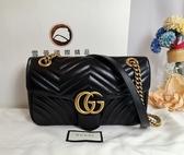 【雪曼國國際精品】GUCCI GG Marmont絎縫紋牛皮金屬雙G LOGO暗壓釦手拿/斜背包~二手9.3成新