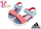 adidas RapidaSwim J 涼鞋 大童 戶外 休閒防水運動涼鞋I6628#灰橘◆OSOME奧森童鞋/小朋友