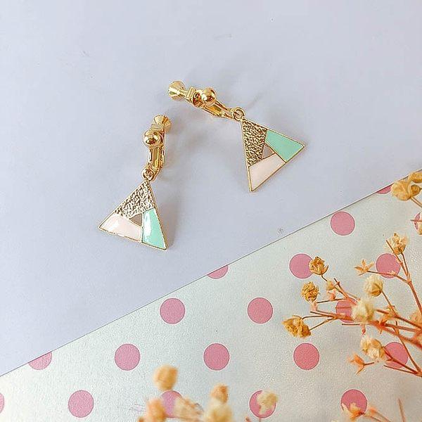 韓國三角巧拼夾式耳環~夏綠蒂 Charlotte