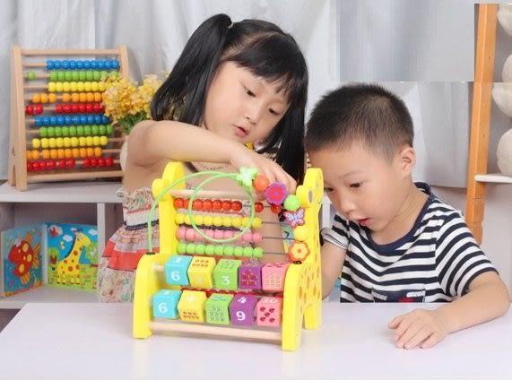 *粉粉寶貝玩具*木製益智教具~長頸鹿木製串珠算數架~兒童早教~優質木製玩具~