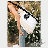 購物包 手提包女韓版時尚帆布包文藝單肩包學院風簡約大包包休閒購物袋潮 果果輕時尚