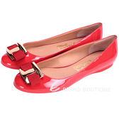 Salvatore Ferragamo Ninna 蝴蝶結飾漆皮平底鞋(紅色) 1510280-54