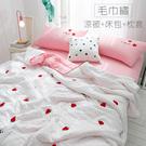韓式可水洗毛巾繡-床包涼被4件組-草莓【...