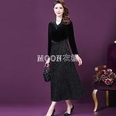 2021款女裝新款中老年媽媽裝長袖連衣裙高檔闊太太洋氣禮服裙子 快速出貨