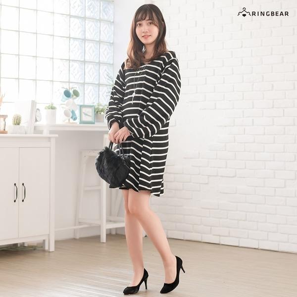 連身裙--輕甜可愛V領磨毛縮口澎袖傘狀橫條紋長上衣(黑.紅XL-5L)-A239眼圈熊中大尺碼
