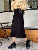半身裙-秋冬韓版新款氣質中長款半身裙高腰顯瘦黑色單排扣A字裙女裝流行花園 喵喵物語