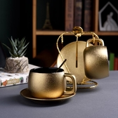 金色咖啡杯套裝家用簡約現代茶杯套裝北歐下午茶花茶杯 aj6642【花貓女王】