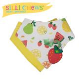 【愛吾兒】美國 SiLLi CHeWS 咬牙器+圍兜2入組-繽紛草莓 美國設計