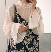 仙氣十足喇叭袖內搭網紗上衣 CC KOREA ~ Q21227