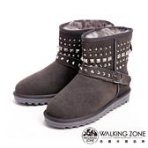 【WALKING ZONE】經典鉚釘造型內刷毛雪靴-灰(另有黑)