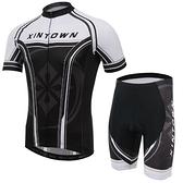 自行車衣-(短袖套裝)-夏季戶外透氣防曬男單車服套裝73er38【時尚巴黎】