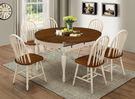 【森可家居】鄉村雙色4.5尺圓形折合餐桌(不含椅) 8JF33172 全實木