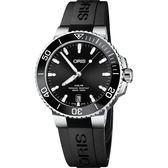 ORIS  Aquis 時間之海300米潛水機械錶(0173377324134-0742164FC)黑膠/39.5mm