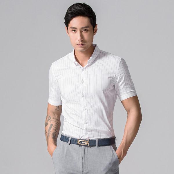 男 領釘扣/直紋/短袖襯衫 L AME CHIC 領釘扣直條紋短袖襯衫【FTSS051003】