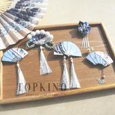 TOPKINO手工日式和風浮世繪海浪流蘇扇子細工花簪和服發夾頭飾品