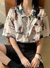 短袖襯衫 短袖襯衫女設計感夏季復古港風印花法式小眾鹽系寬松薄款別致上衣【快速出貨】