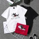 (全館一件免運)DE SHOP~(T-2387)閨蜜女情侶裝新款寬鬆夏裝bf風上衣學生小狗 短袖T恤