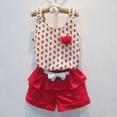 無袖套裝  韓版女童花朵吊帶短褲套裝 S66011