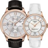 TISSOT 天梭 杜魯爾系列情人機械對錶/情侶手錶-玫瑰金框/44+32mm T0994273603800+T0992073611800