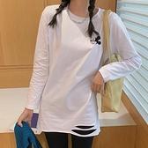 小中大尺碼長袖T恤~長袖T恤女寬松破洞大碼白色印花中長款打底衫內搭ins上衣T305莎菲娜