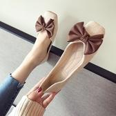 春夏季新款女鞋子大碼蝴蝶結布面淺口方頭平跟平底單鞋