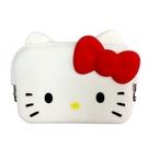 【震撼精品百貨】Hello Kitty 凱蒂貓~HELLO KITTY 矽膠證件包(白/長方型大臉/紅蝴蝶結)