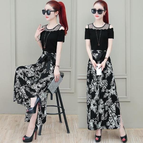 碎花連身褲女 新款夏裝時尚氣質顯瘦高腰假兩件Mandyc