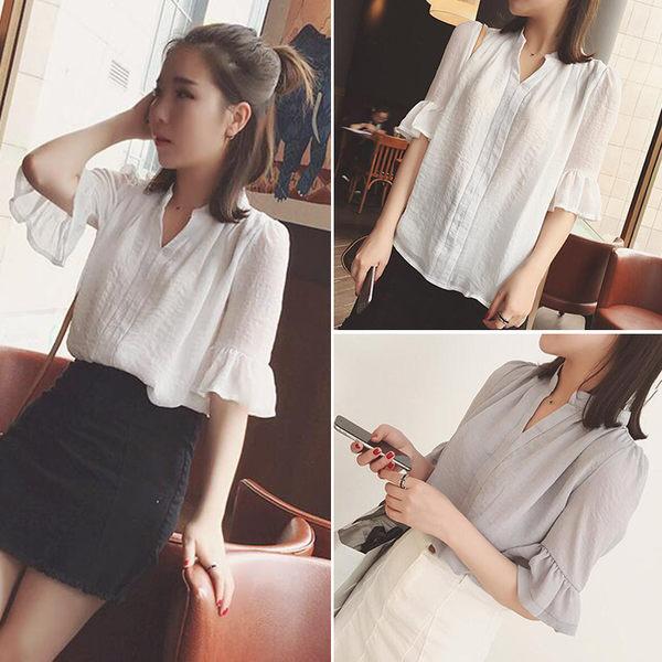 【GZ81】短袖上衣 韓版純色棉麻襯衫 五分喇叭袖上衣