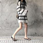 冰絲針織條紋T恤罩衫女夏季寬鬆套頭鏤空薄款長袖透視防曬衫  蓓娜衣都
