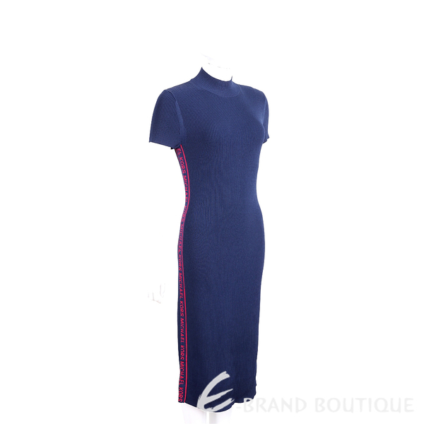 Michael Kors Logo 側邊織帶設計深藍色針織連身裙 1920770-34