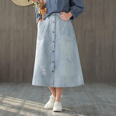 全棉牛仔及膝裙 單排釦 磨白 寬鬆 中長裙 A字裙  - 夢想家- 0115