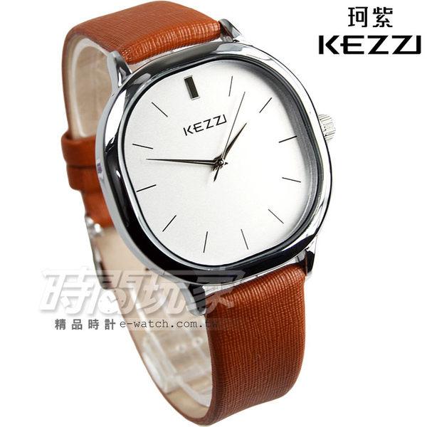 KEZZI珂紫 簡約經典方圓腕錶 皮革錶帶 男錶 中性錶 女錶 都適合 咖啡色 KE1155咖大