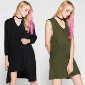 9195#速賣通歐美秋冬新款中長款兩件套毛衣裙V領針織打底裙 外套N502.1號公館